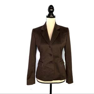 Elie Tahari Brown With Pink Fitted Blazer EUC